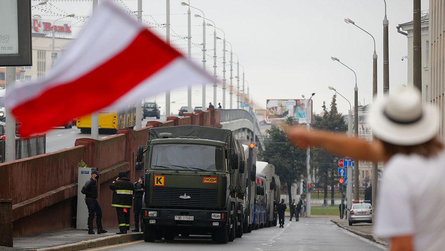Во время акции протеста против результатов выборов в Белоруссии в Минске, 23 августа 2020 года