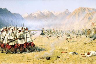 Фрагмент картины Василия Верещагина «Нападают врасплох» (1871)
