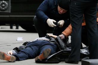 Место убийства экс-депутата российской Госдумы Дениса Вороненкова в центре Киева, 23 марта 2017 года