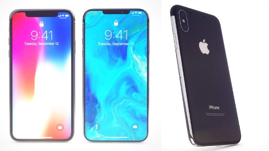 Сравнение iPhone X (слева) с примерами того, как может выглядеть iPhone XI