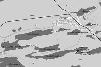 Карта-схема территории Лоухского района, где на озеро Корпиярви совершил посадку самолет «Boeing 707»