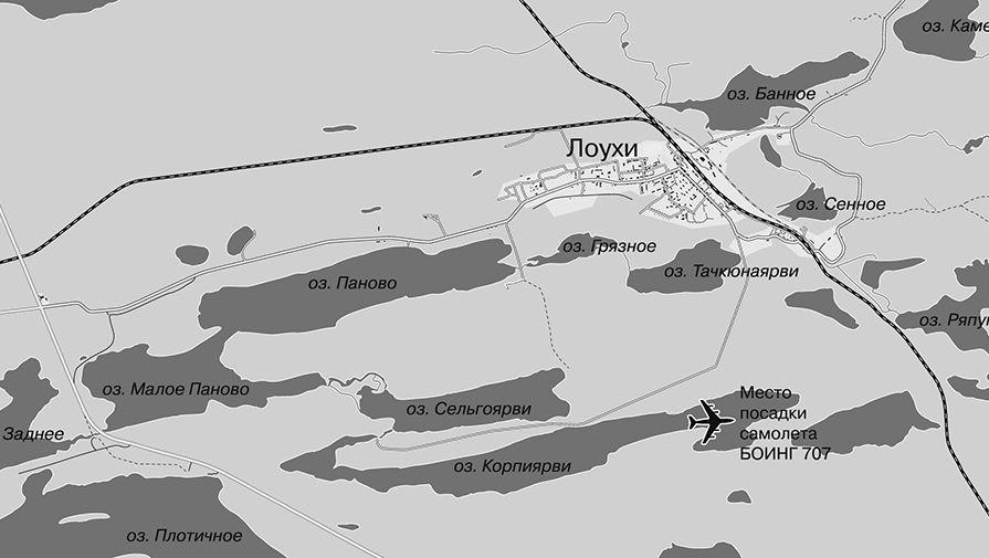 Карта-схема территории Лоухского района, где на озеро Корпиярви совершил посадку самолет...