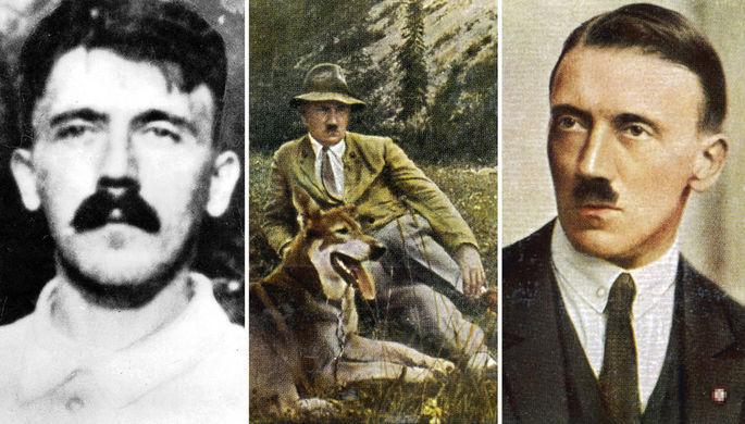 Адольф Гитлер в 1918 году в военном госпитале, в 1933 году с собакой и в 1923 году, коллаж