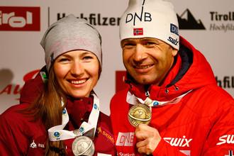 Дарья Домрачева и Уле-Эйнар Бьорндален после чемпионата в Австрии, февраль 2018 года