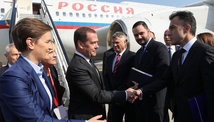 Председатель правительства России Дмитрий Медведев и премьер-министр Сербии Ана Брнабич