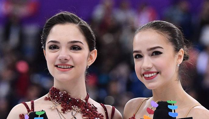 Российские призеры женского одиночного катания в соревнованиях по фигурному катанию на XXIII зимних...