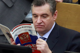 Председатель комитета по международным делам Госдумы России Леонид Слуцкий на пленарном заседании, 21 марта 2018 года
