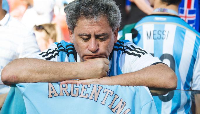 Болельщики сборной Аргентины после матча группового этапа между сборными Аргентины и Исландии на стадионе Спартак в Москве, 16 июня 2018 года