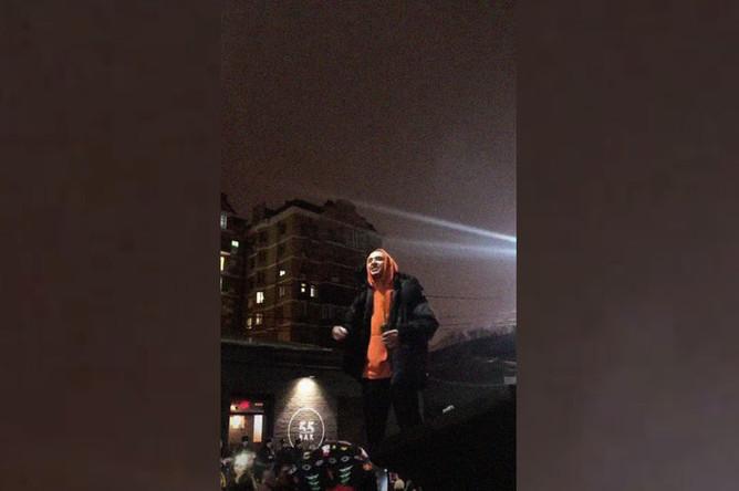 Рэпер Хаски (Дмитрий Кузнецов) во время инцидента в Краснодаре, 21 ноября 2018 года