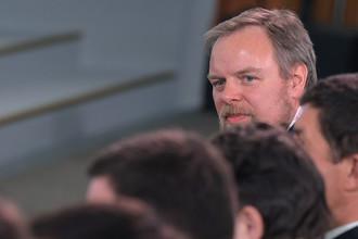Предправления Промсвязьбанка Дмитрий Ананьев во время панельной дискуссии на Гайдаровском форуме в Москве, январь 2017 года