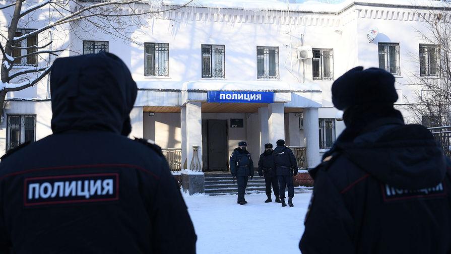 Здание 2-го отдела полиции Управления МВД России по г. о. Химки, куда доставлен Алексей Навальный, накануне задержанный в аэропорту Шереметьево после прилета из Берлина, 18 января 2021 года