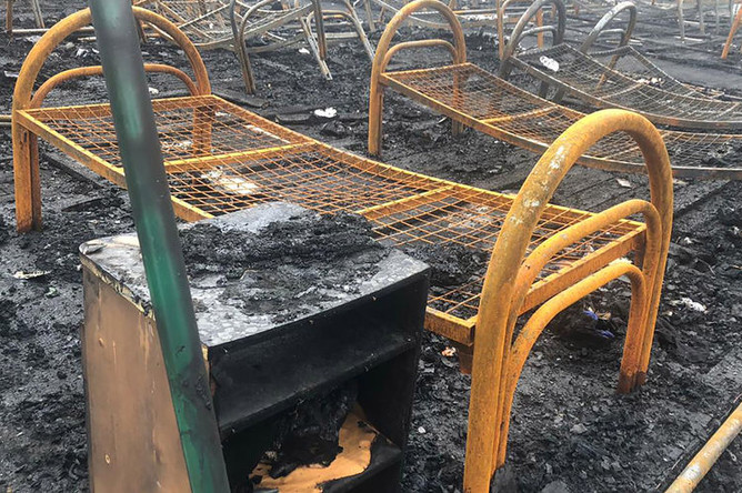 Последствия пожара в палаточном лагере «Холдоми» в Солнечном районе Хабаровского края, 23 июля 2019 года