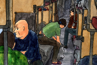 Фрагмент рисунка Михаила 'Vokabre' Щербакова. Транссиб, плацкарт. 2014