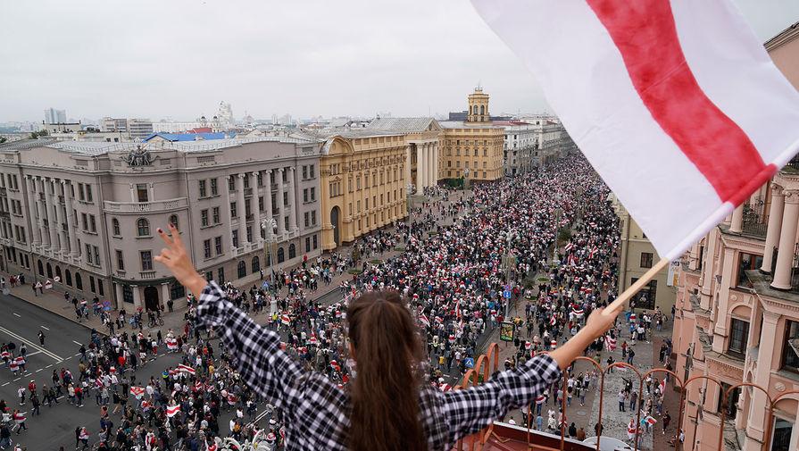Участники акции протеста против результатов выборов в Белоруссии, Минск, 23 августа 2020 года