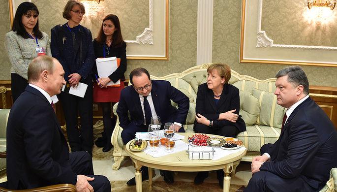 Во время встречи лидеров стран «нормандской четверки» в Минске, февраль 2015 года