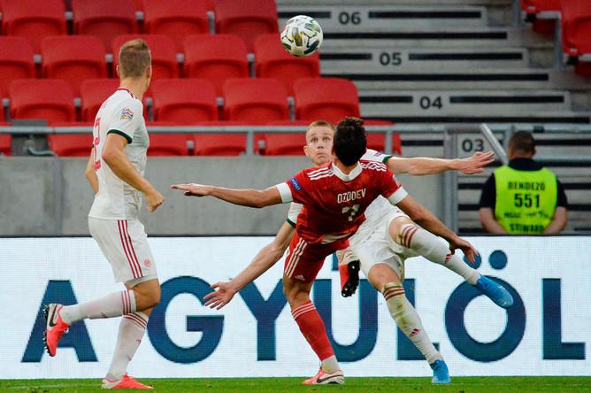 Игровой момент в матче 2-го тура Лиги наций УЕФА между сборными Венгрии и России, 6 сентября 2020 года