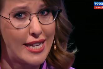 Ксения Собчак во время предвыборных дебатов на телеканале «Россия 1», 14 марта 2018 года