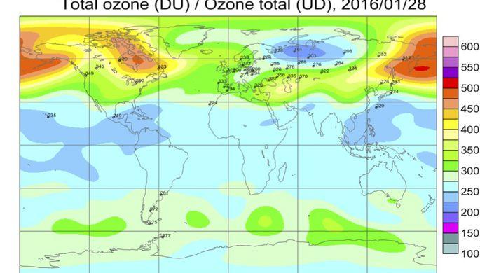 Над территорией России 28 января наблюдалась отрицательная аномалия озона, но это не дыра