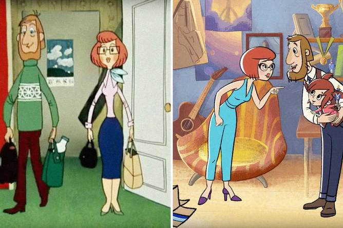 Кадры из мультфильмов «Трое из Простоквашино» (1978) и «Возвращение в Простоквашино» (2018), коллаж