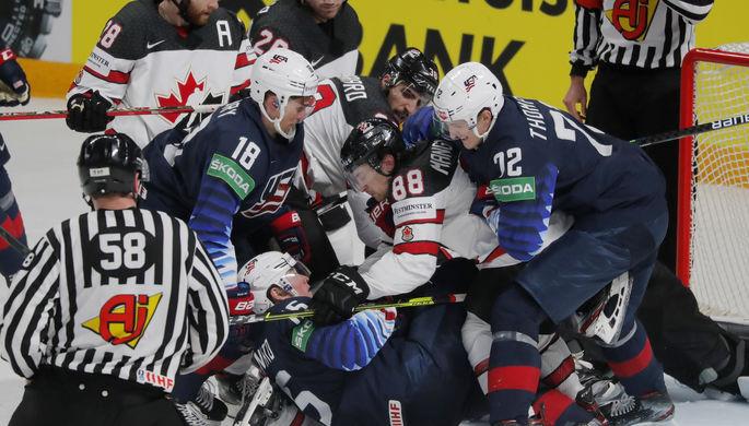 Эпизод матча США — Канада на чемпионате мира по хоккею — 2021