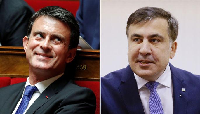 Бывший премьер-министр Франции Мануэль Вальс и бывший президент Грузии Михаил Саакашвили, коллаж «Газеты.Ru»