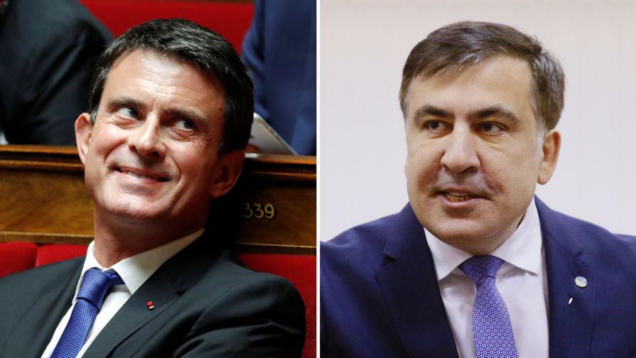 Бывший премьер-министр Франции Мануэль Вальс и бывший президент Грузии Михаил Саакашвили, коллаж...