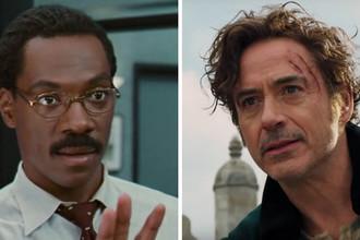 Кадр из фильмов «Доктор Дулиттл» (1998) и «Удивительное путешествие доктора Дулиттла» (2020)