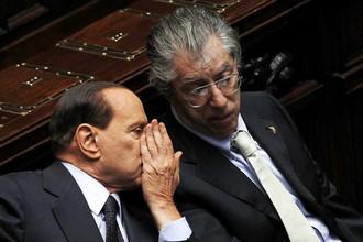 Итальянский премьер Сильвио Берлускони и Умберто Босси, лидер Лиги Севера