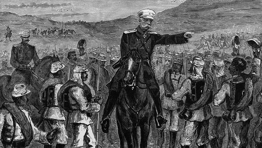 Гравюра «Генерал Тергукасовъ говорит съ солдатами передъ выручкой Баязетцевъ»