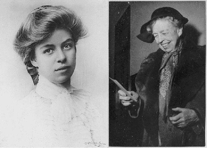 Элеонора Рузвельт в 1898 году и в 1956 году