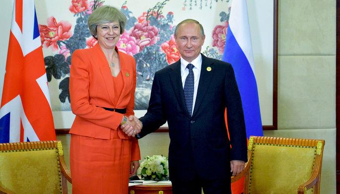 4 сентября 2016 года. Президент РФ Владимир Путин и премьер-министр Великобритании Тереза Мэй