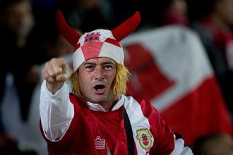 Болельщик сборной Гибралтара на матче с Фарерами