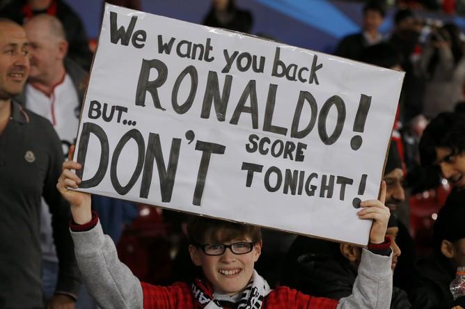 «Мы хотим вернуть Роналду, но не забивай сегодня!»- таков плакат в адрес Криштиану в этом матче