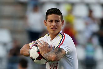 Полузащитник сборной Колумбии и мадридского «Реала» Хамес Родригес в товарищеском матче против команды Испании