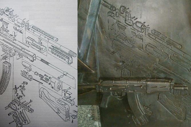 Схема автомата MKb.42 и фрагмент барельефа на памятнике Михаилу Калашникову в центре Москвы, 22 сентября 2017 года