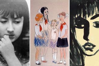 Художница Надя Рушева в 1968-м году и ее работы, коллаж