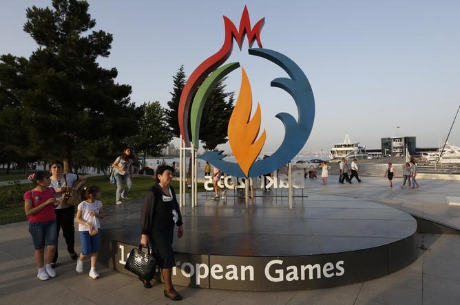 На одной из улиц города. Первые Европейские игры — 2015 пройдут в Баку с 12 по 28 июня