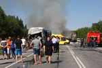 Наместе ДТП сучастием рейсового автобуса и грузовика нафедеральной трассе М53 «Байкал»