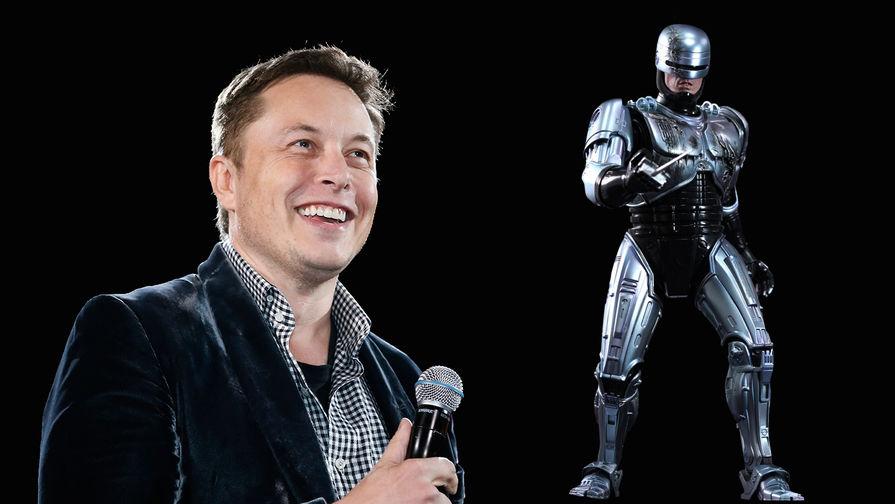 Предприниматель Илон Маск и персонаж фильма Пола Верховена «Робокоп» (1987), коллаж...