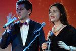 Телеведущий Дмитрий Борисов и телеведущая Екатерина Андреева нацеремонии вручения премии журнала The Hollywood Reporter вМоскве, 2015 год