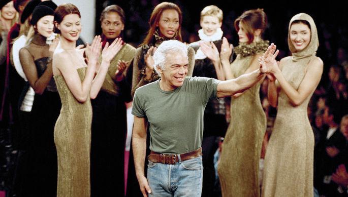Ральф Лорен во время показа своей коллекции в Нью-Йорке, 1994 год