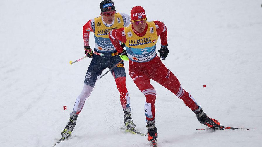 Йоханнес Хёсфлот Клебо (Норвегия) и Александр Большунов (Россия)