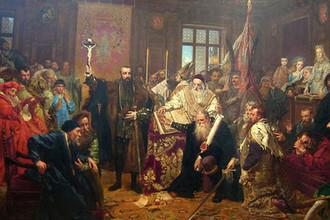 Ян Матейко, «Люблинская уния». Картина написана в 1869 году, то есть к 300-летию заключения Унии