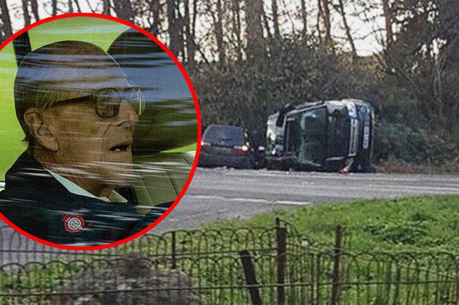 Фотография с места автомобильной аварии в Норфолке с участием герцога Эдинбургского Филиппа, супруга королевы Великобритании Елизаветы II, 17 января 2018 года