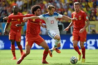 Сборная России встречалась с Бельгией на чемпионате мира в Бразилии в 2014 году и уступила со счетом 0:1