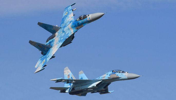 Истребители Су-27 ВВС Украины во время учений «Чистое небо» в Хмельницкой области, 11 октября 2018 года
