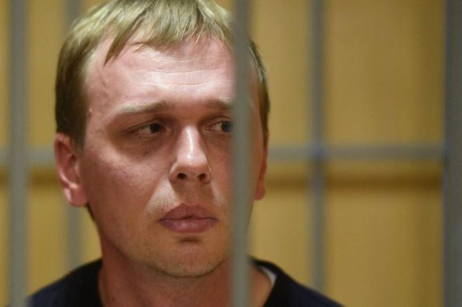 Журналист интернет-издания «Медуза» Иван Голунов, обвиняемый в незаконном обороте наркотиков, на заседании Никулинского суда города Москвы, где рассматривается ходатайство следствия о его аресте