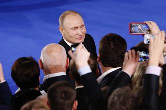 Президент России Владимир Путин во время форума ОНФ в Москве, 19 декабря 2017 года