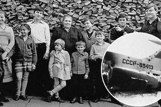 Семья Овечкиных в 1985-м году и Ту-154 с бортовым номером 85413 после пожара, коллаж