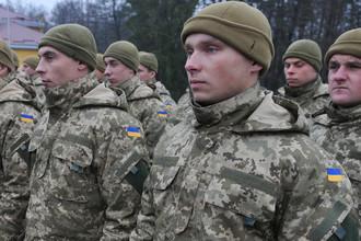 Украинские военнослужащие на торжественном открытии многонациональной тренировки подразделений вооруженных сил Украины